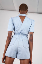 Load image into Gallery viewer, Light blue denim open back romper6