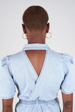 Load image into Gallery viewer, Light blue denim open back romper7