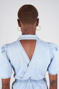 Light blue denim open back romper7
