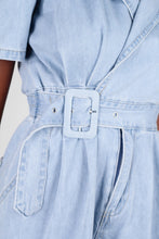 Load image into Gallery viewer, Light blue denim open back romper8