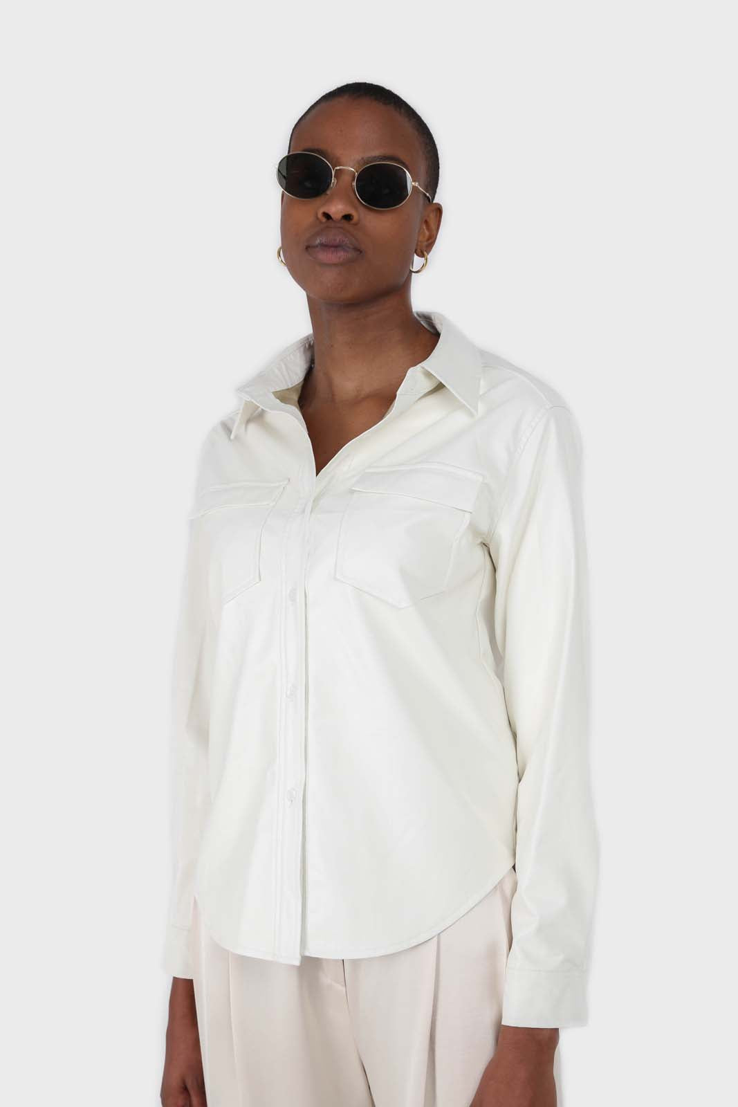 Bone white vegan leather shirt10