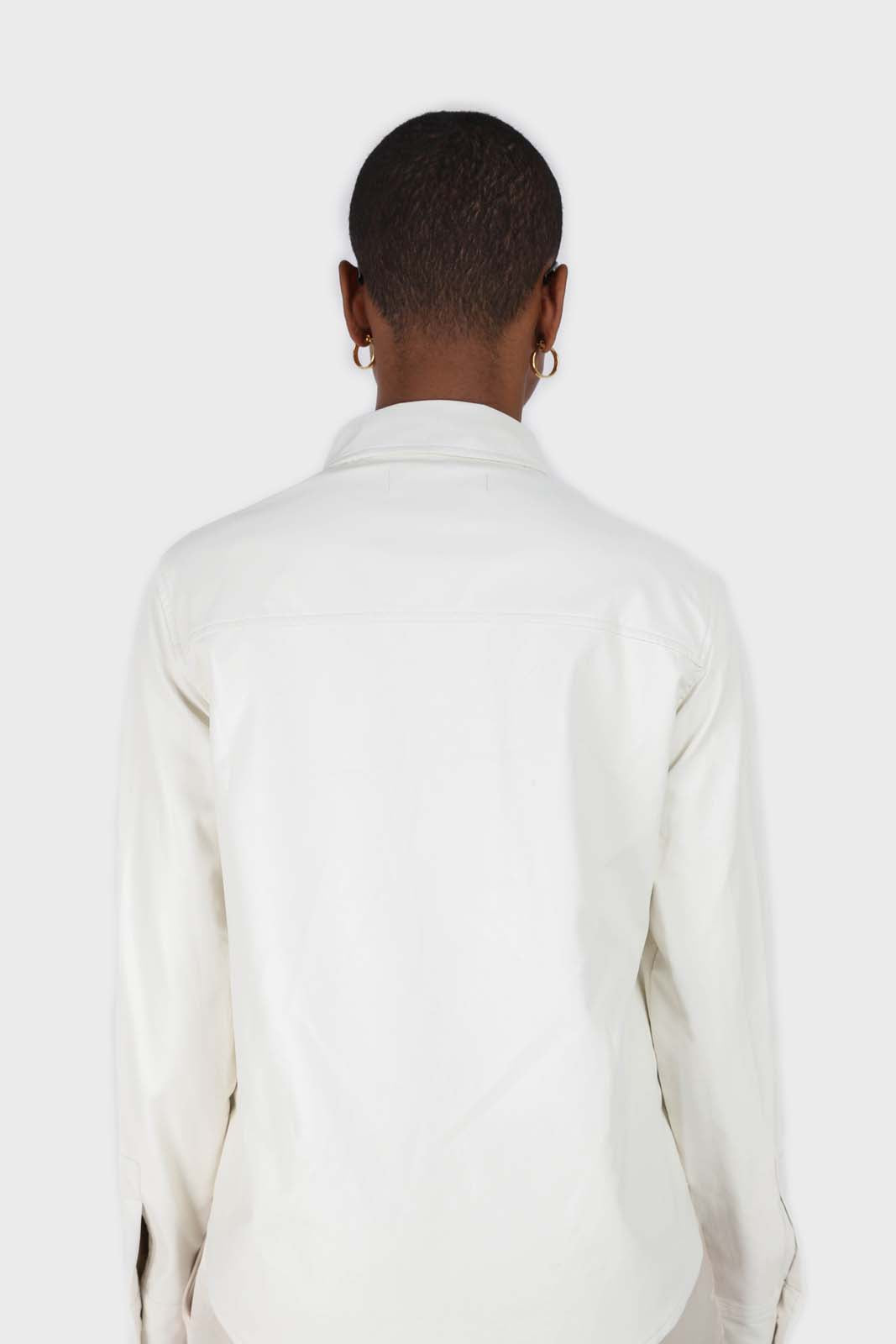 Bone white vegan leather shirt13