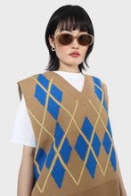 Load image into Gallery viewer, Camel and bright blue argyle sweater vest1
