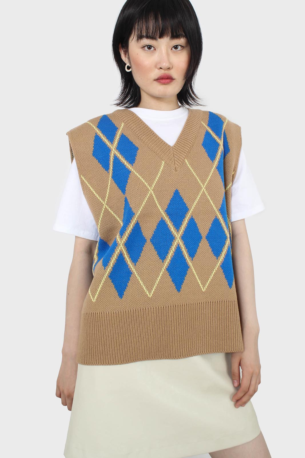 Camel and bright blue argyle sweater vest2