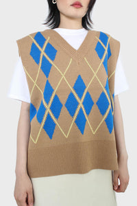Camel and bright blue argyle sweater vest3