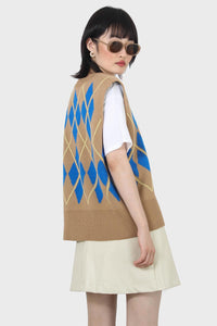 Camel and bright blue argyle sweater vest5