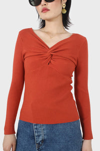 Orange cross front chest knit top5