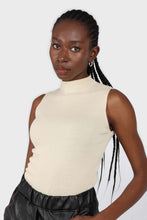 Load image into Gallery viewer, Light beige sleeveless mock neck knit tank1sx