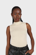 Load image into Gallery viewer, Light beige sleeveless mock neck knit tank2