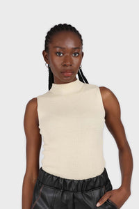 Light beige sleeveless mock neck knit tank2