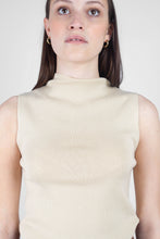 Load image into Gallery viewer, Light beige sleeveless mock neck knit tank7