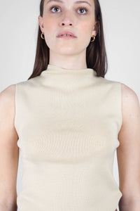 Light beige sleeveless mock neck knit tank7