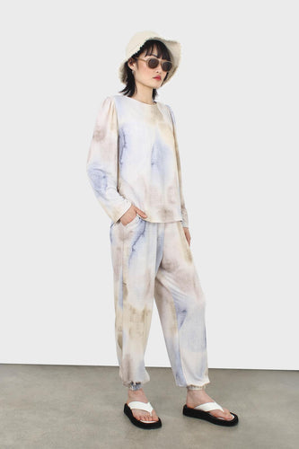 Beige and blue tie dye loose fit trousers1sx