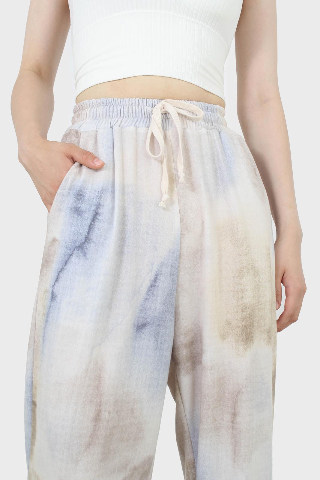 Beige and blue tie dye loose fit trousers2