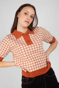 Beige and brown box check polo knit top1