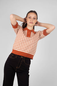 Beige and brown box check polo knit top2