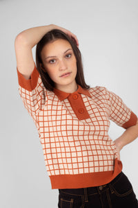 Beige and brown box check polo knit top3