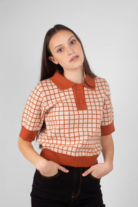 Beige and brown box check polo knit top4