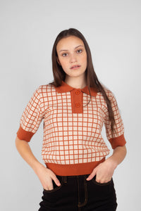 Beige and brown box check polo knit top5