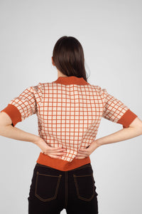 Beige and brown box check polo knit top6
