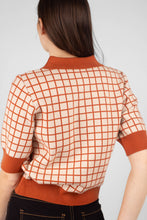 Load image into Gallery viewer, Beige and brown box check polo knit top7