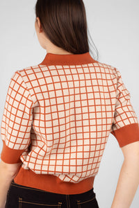 Beige and brown box check polo knit top7