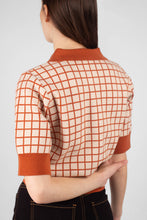 Load image into Gallery viewer, Beige and brown box check polo knit top8