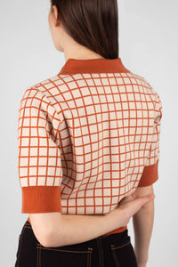 Beige and brown box check polo knit top8