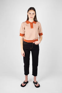 Beige and brown box check polo knit top9