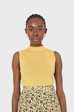 Load image into Gallery viewer, Mustard sleeveless mock neck knit tank1