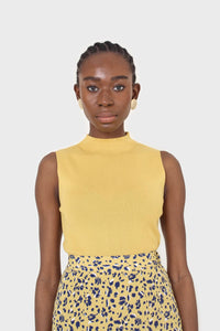 Mustard sleeveless mock neck knit tank1