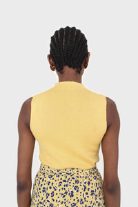 Mustard sleeveless mock neck knit tank4