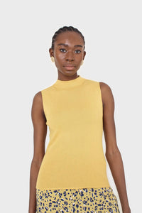 Mustard sleeveless mock neck knit tank6