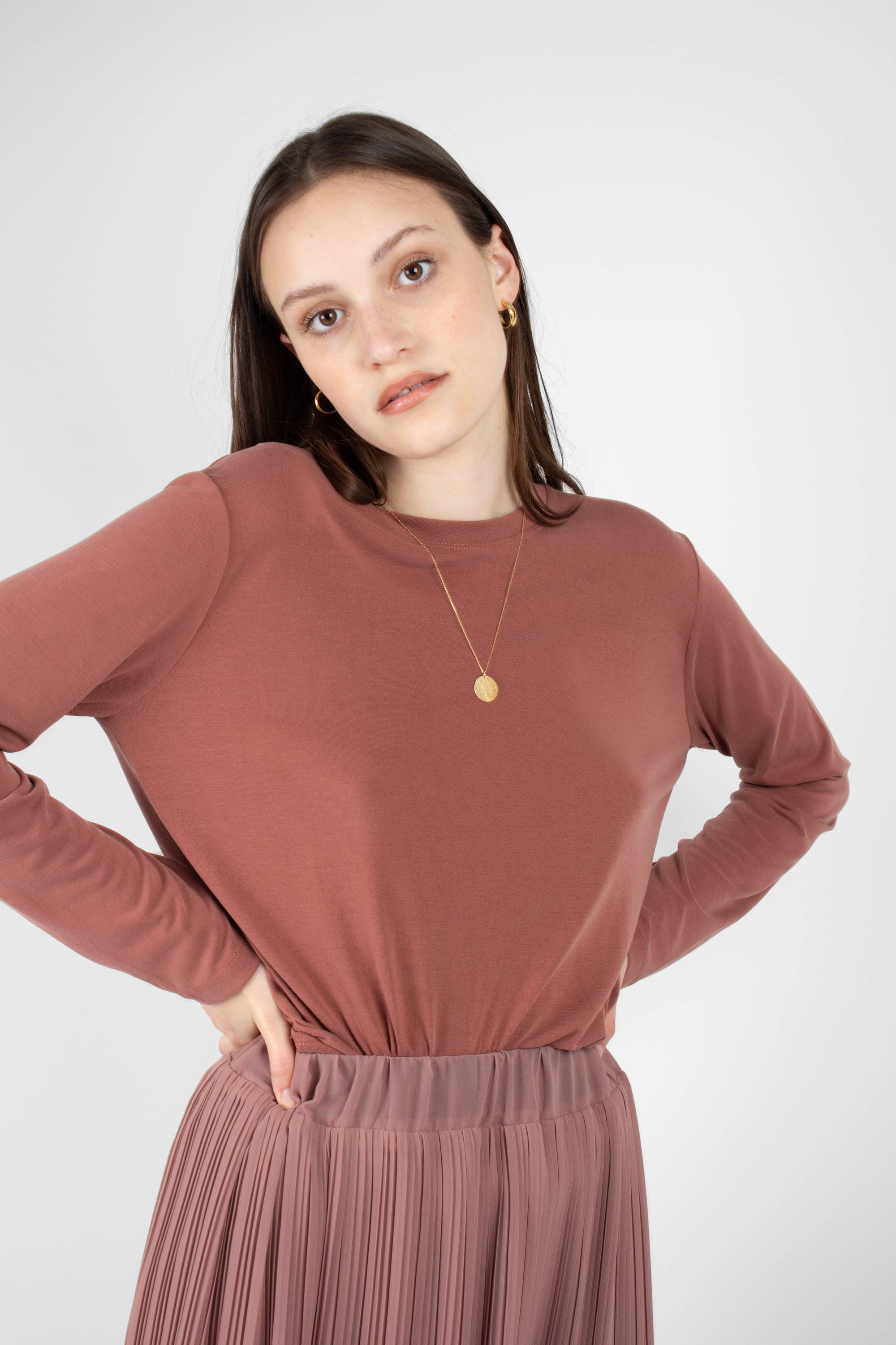 Rust high neck perfect long sleeved tee