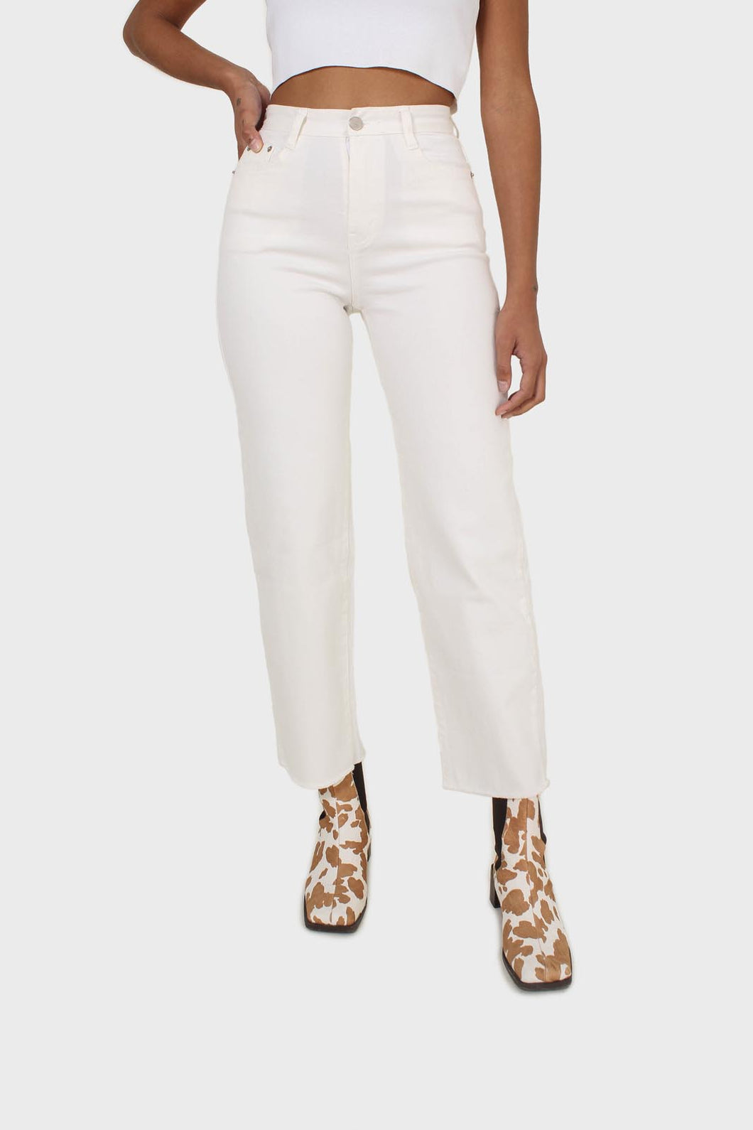 Ivory straight raw cut wide fit jeans - 8391sx