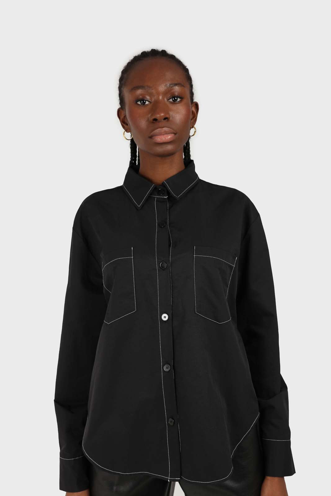 Black and white contrast stitch oversized shirt 2