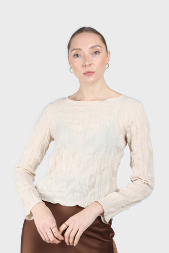 Beige wrinkled long sleeved top1sx