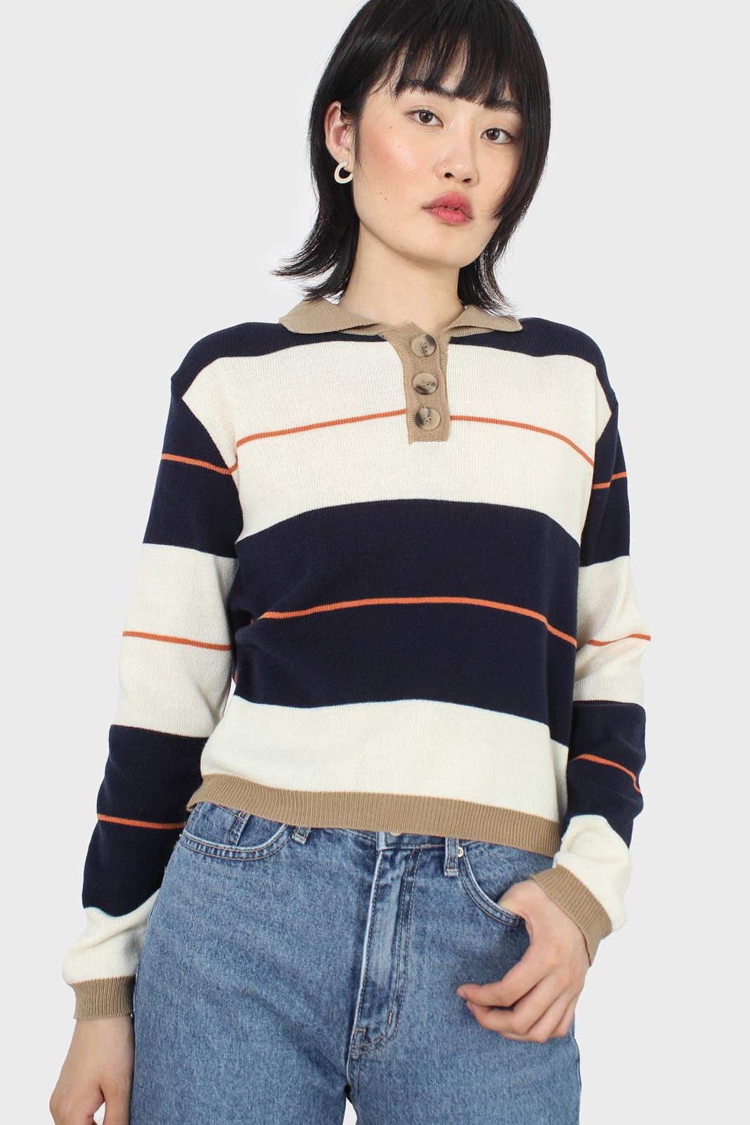 Navy and ivory thick multistriped polo knit top2