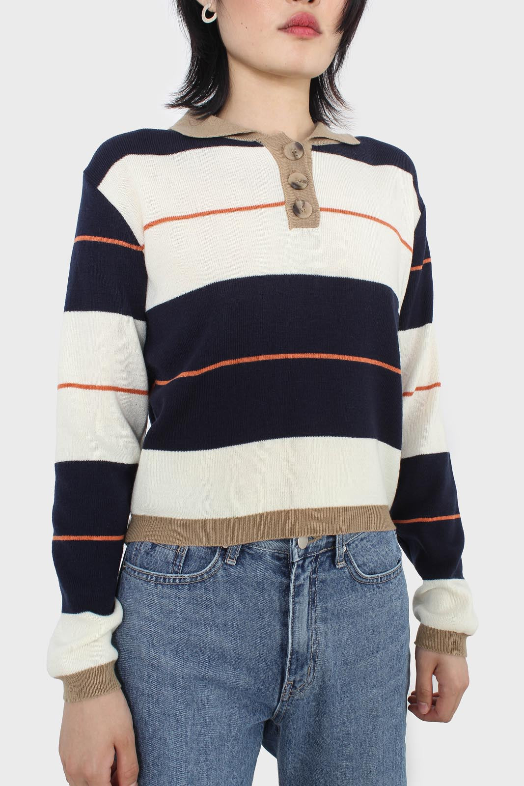 Navy and ivory thick multistriped polo knit top4