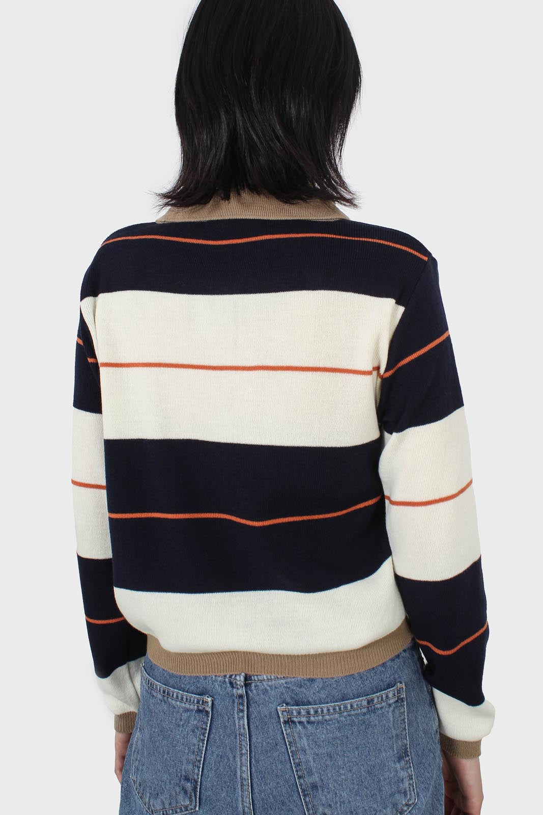 Navy and ivory thick multistriped polo knit top5