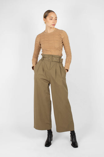 Khaki high waisted belted wide fit trousers1sx