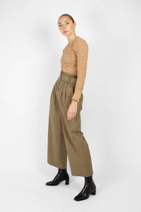 Khaki high waisted belted wide fit trousers3