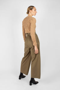 Khaki high waisted belted wide fit trousers5