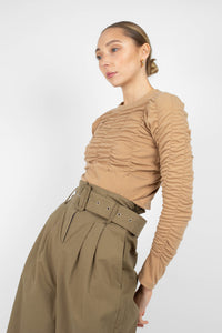 Khaki high waisted belted wide fit trousers4