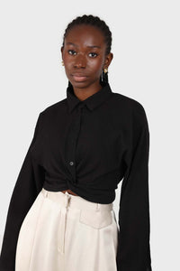 Black twist front cropped shirt 1