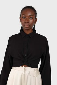 Black twist front cropped shirt 2