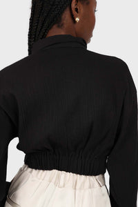 Black twist front cropped shirt 4