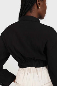 Black twist front cropped shirt 5