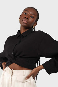 Black twist front cropped shirt sx