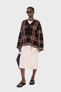 Black and beige bold checked cardigan2